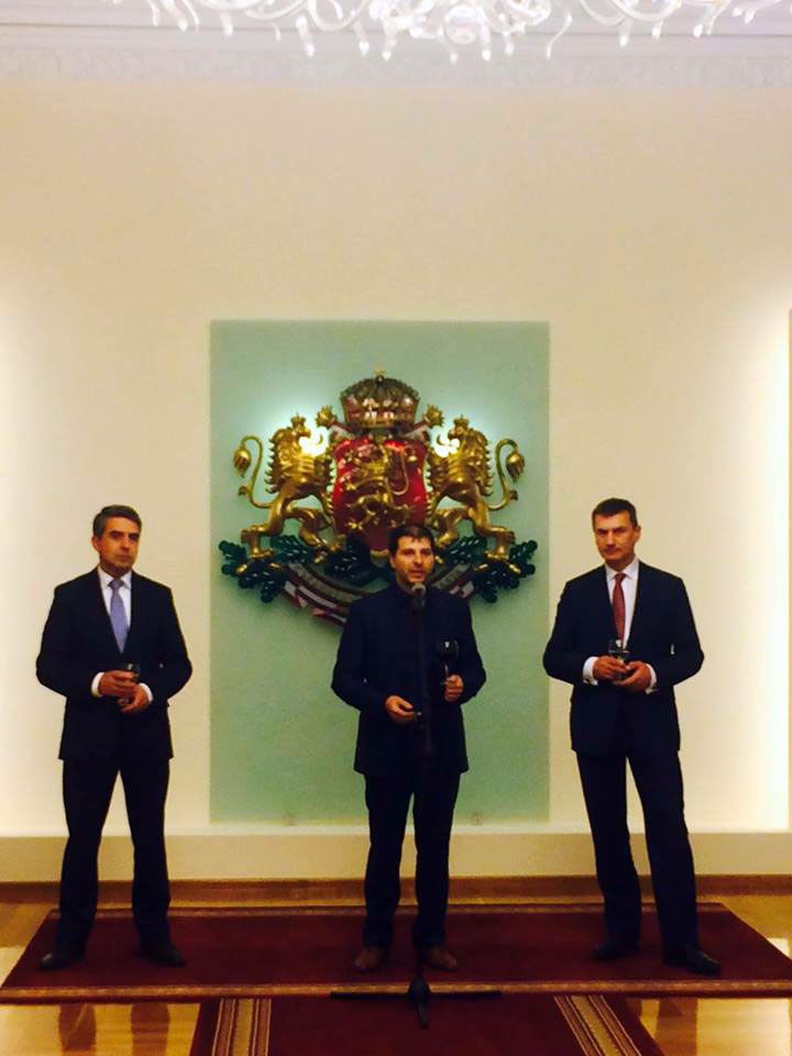 Plamen Russev with President of Bulgaria (2012-2017) Rossen Plevneliev and Vice President European Commission Andrus Ansip