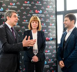 Пламен Русев с Росен Плевнелиев, президент на България, Йорданка Фандъкова, кмет на София на Webit.Festival в София