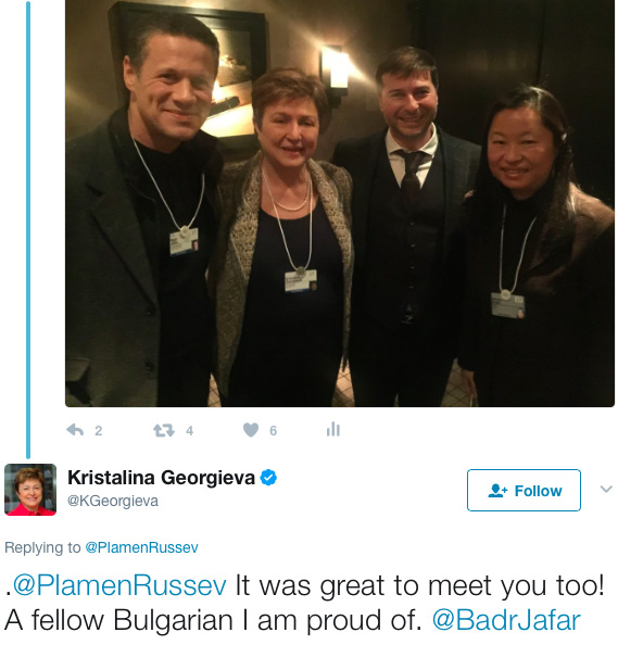 Plamen Russev with the CEO of the World Bank Kristalina Georgieva happy to meet a fellow Bulgarian at the World Economic Forum.