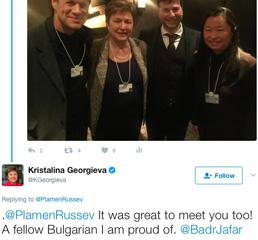 """Президентът на Световната Банка: """"горда съм да се срещна с българин, с който се гордея"""" на Свтовния Икономически Форум в Давос"""