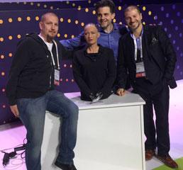 Пламен Русев с бащата на хуманоидния робот София - Дейвид Хансън и основател на ChronoBank със Серей Сергиенко