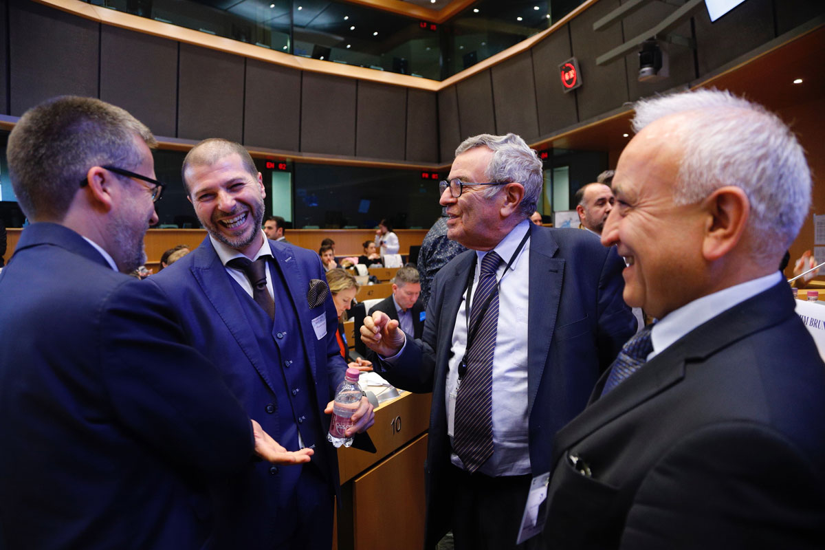Plamen Russev with commisioner Research, Science and Innovation - Carlos Moedas and Prof. Konstantin Konstantinov in Brussel
