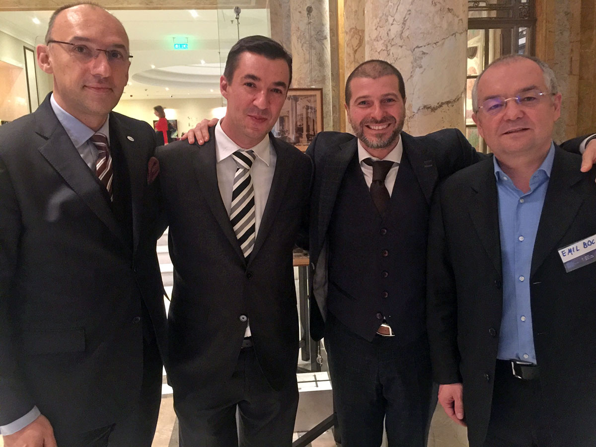 Plamen Russev with the Prime Minister of Romania (2008-2012) and current mayor of Cluj-Naboca Emil Boc and the Advisor to the Prime Minister of Romania (2017) Dan Nechita