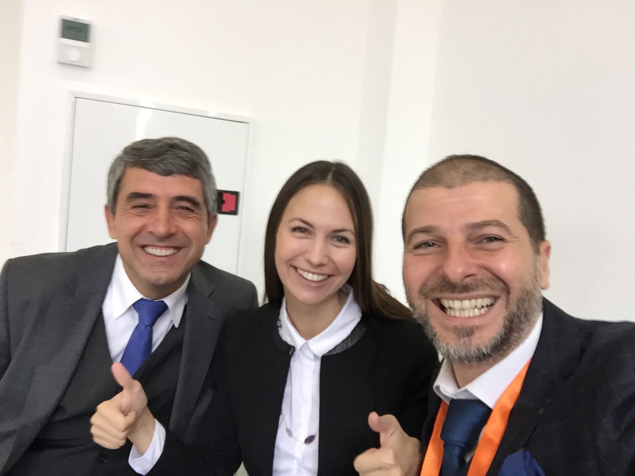 Plamen Russev with the President of Bulgaria (2012-2017) Rosen Plevneliev and the member of European parliament - Eva Maydell (Paunova) in Sofia