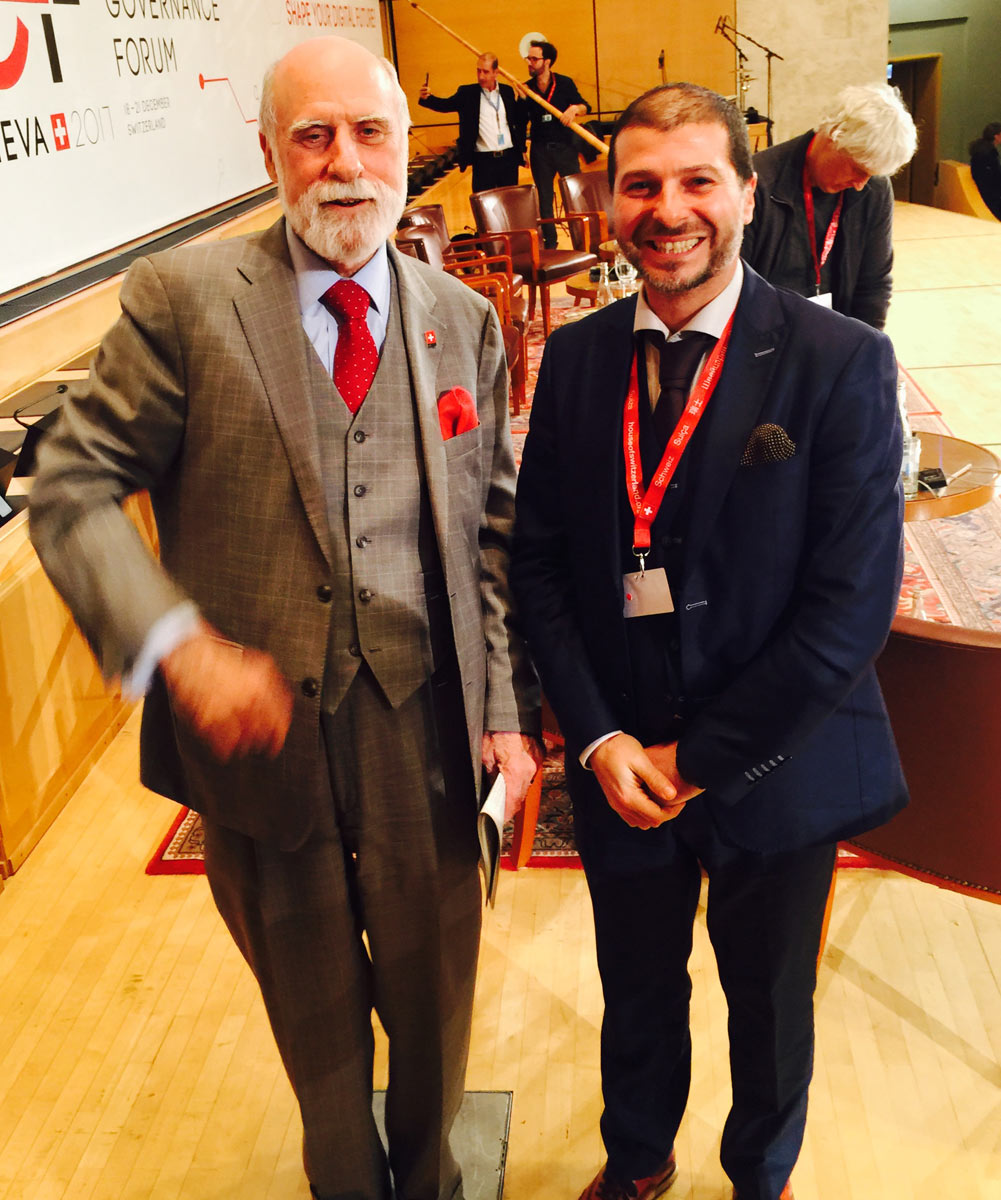 Plamen Russev with the father of Internet and email, Vint Cerf, UN IGF