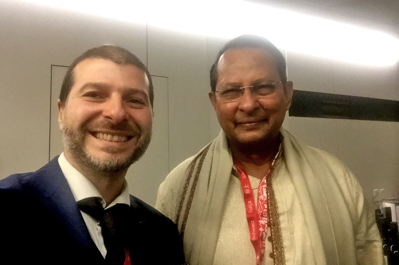 Plamen Russev with Hasanul Haq Inu, Minister of Information of Bangladesh, Geneva 2017