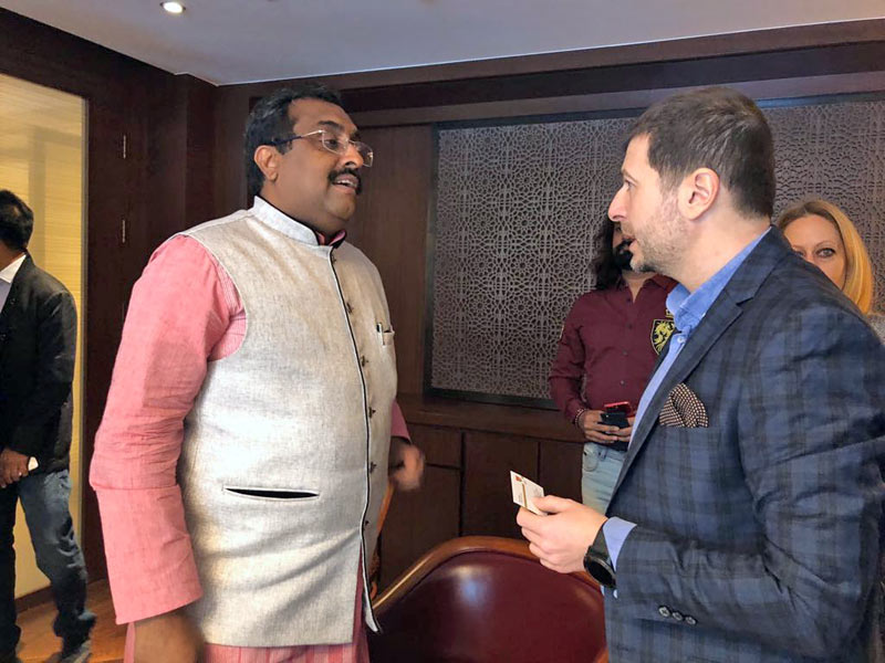 Plamen Russev in a private meeting with Ram Madhav, General Secretary of the political party in power in India, BJP