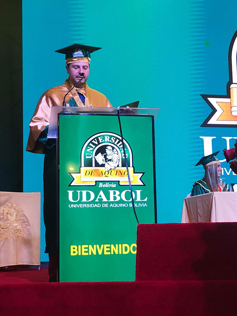 Ceremony awarding Plamen Russev as Doctor Honoris Causa of one of South America's largest universities - Udabol