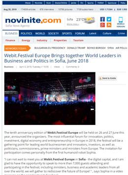 Webit.Festival Europe обединява световните лидери в бизнеса и политиката в София