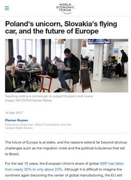 Полският 'еднорог', летящата кола на Словакия и бъдещето на Европа